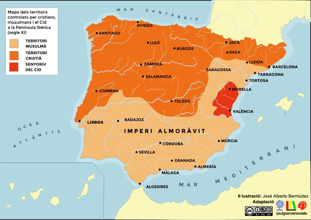 mapa cristians musulmans i el cid